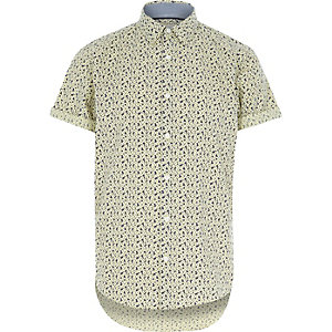 Yellow floral short sleeve shirt