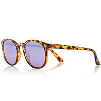 Brown tortoise shell preppy round sunglasses