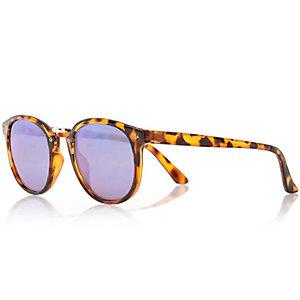 Brown tortoise shell preppy round sunglasses