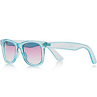 Blue clear retro sunglasses