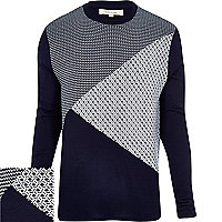 Navy geometric colour block knitted jumper