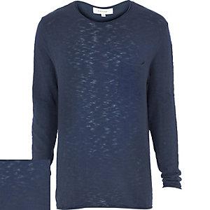 Blue slouchy long sleeve jumper