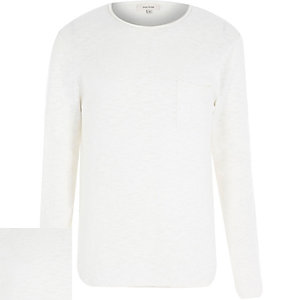 White slouchy long sleeve jumper