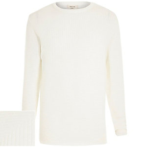 White ribbed long sleeve sweater