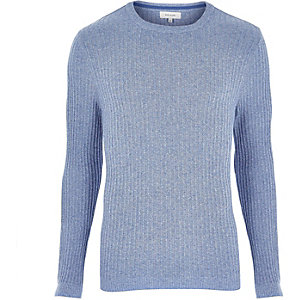 Blue ribbed long sleeve sweater
