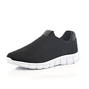 Black mesh slip on trainers