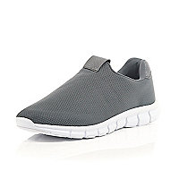 Grey mesh slip on trainers
