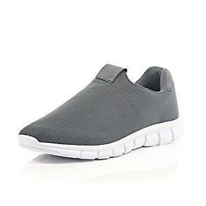 Grey mesh slip on trainers
