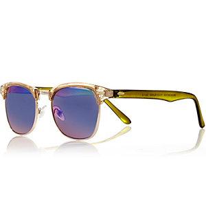 Yellow clear retro sunglasses