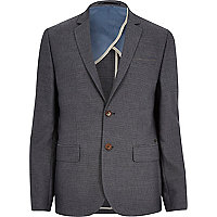 Navy textured stripe slim suit jacket