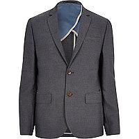 Navy textured stripe slim suit jacket