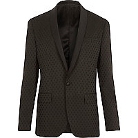 Black polka dot slim tux suit jacket