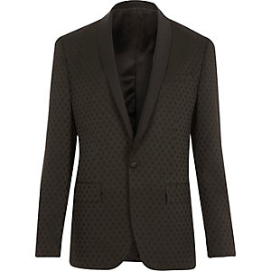 Black polka dot slim tux suit jacket