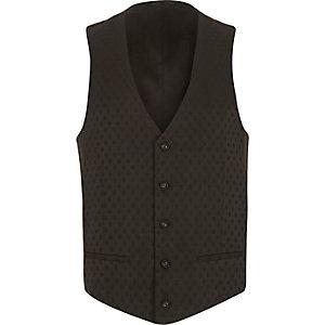 Black dobby spot textured waistcoat