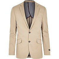 Cream cotton woven slim suit jacket