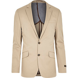 Cream cotton woven slim suit jacket