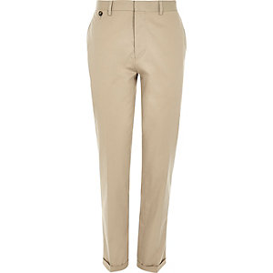 Cream cotton smart slim suit trousers