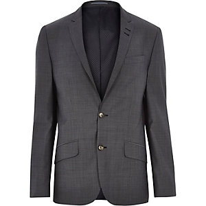 Grey herringbone wool-blend slim suit jacket