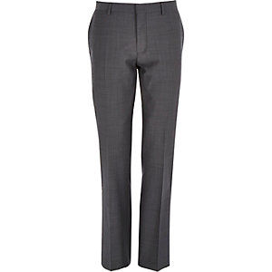 Grey herringbone wool-blend trousers