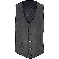 Grey herringbone slim suit waistcoat