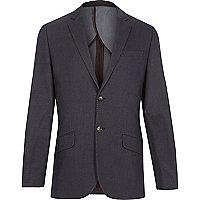 Blue jacquard weave slim suit jacket