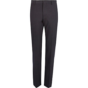 Blue jacquard weave slim suit trousers