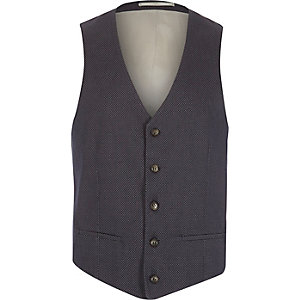 Blue jacquard weave vest