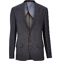 Navy denim slim suit jacket