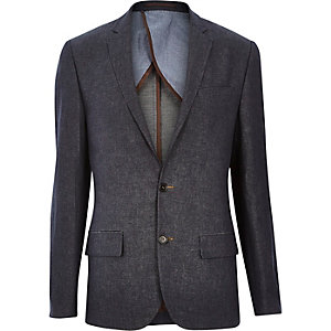 Navy denim linen-blend slim suit jacket
