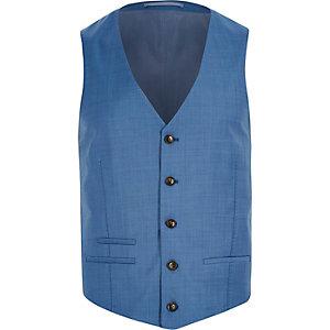 Blue wool-blend slim suit waistcoat