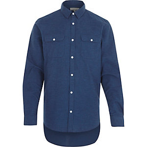 Navy flannel long sleeve shirt
