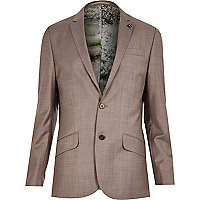 Purple print lined wool-blend slim jacket