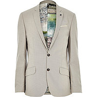 Beige linen print lined slim suit jacket