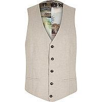 Beige linen print lined waistcoat