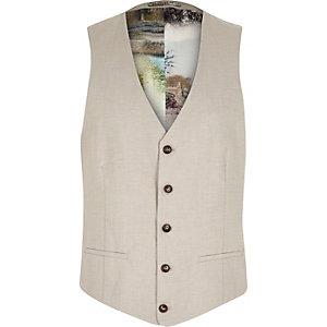 Beige linen-blend print lined vest