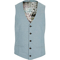 Blue linen floral lined waistcoat