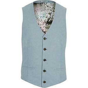 Blue linen-blend floral lined waistcoat