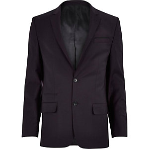 Purple wool-blend slim suit jacket