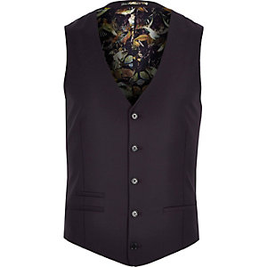 Purple wool-blend print lined waistcoat