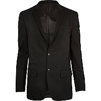 Black micro texture slim suit jacket