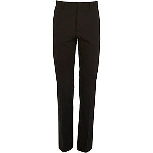Black micro texture wool slim suit trousers