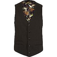 Black micro texture slim suit waistcoat