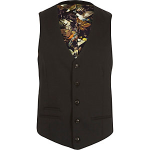 Black micro texture wool slim suit vest
