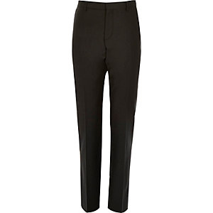 Black wool-blend suit trousers