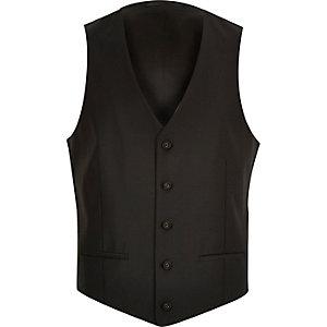 Black wool-blend waistcoat