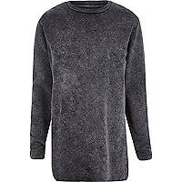 Grey acid wash long sleeve sweatshirt