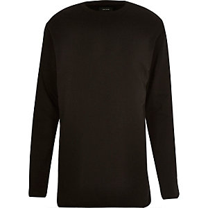 Black raw edge long sleeve sweatshirt