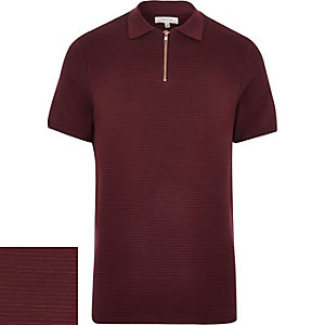Dark red knitted polo shirt