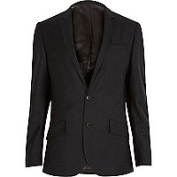 Black polka dot slim tux jacket