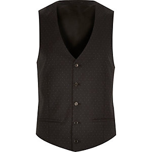 Black polka dot wool waistcoat